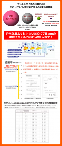 【PM2.5対策】抗ウイルスマスク「FSC-F-99E」